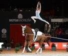 Anna Cavallaro (ITA) wins the FEI World Cup™ Vaulting series opener at Madrid Horse Week with Monaco Franze 4, lunged by Nelson Vidoni. Photo by Daniel Kaiser/FEI
