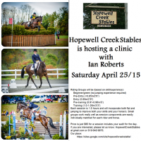 April 25 clinic with Ian Roberts at Hopewell Creek Stables