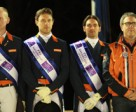 The Netherlands team of Diederik van Silfhout, Laurens van Lieren and Tommie Visser with Chef d'Equipe Wim Ernes on the top step of the podium following their victory at the second leg of the FEI Nations Cup™ Dressage 2014 pilot series at Vidauban, France tonight. Photo: FEI/Rui Pedro Godinho.