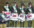 (left to right) Great Britain's team manager Philip Surl with his winning team of Nicky Roncoroni, Lucy Wiegersma, Rosalind Canter and Izzy Taylor after their victory at the second leg of FEI Nations Cup™ Eventing 2014, held at Ballindenisk (IRL) for the first time in the history of this series. Photo by EquusPix/FEI