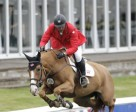 Yann Candele and Showgirl jumped clear for Canada in the second round of the $125,000 Furusiyya FEI Nations' Cup held Friday night, June 13, at the Spruce Meadows 'Continental' tournament in Calgary, AB. Photo by Cansport