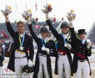 The Canadian Dressage Team won the Silver Medal at the TORONTO 2015 Pan American Games.  From left to right: Chris von Martels, Brittany Fraser, Megan Lane and Belinda Trussell. (Cealy Tetley photo)