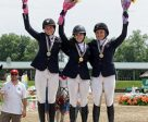 Canadian jumpers claimed all the medals in the Young Riders division (l-r) Alexanne Thibault, Julia Madigan, Veronica Bot. Photo by Cealy Tetley - www.tetleyphoto.com